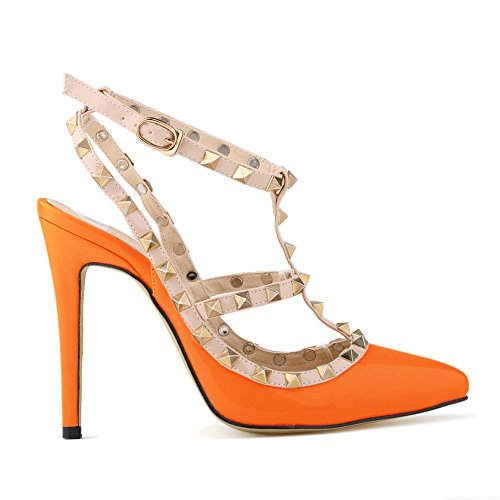 Strap Ankle Heels Womens Loslandifen Stiletto Rivet Orange High Pumps npwYXBqP