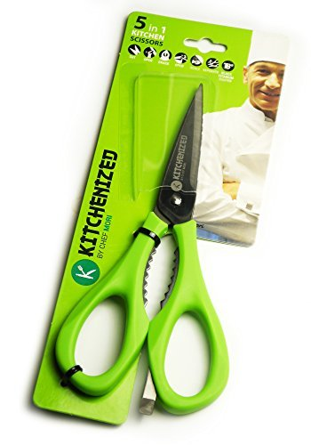 Kitchenized by Chef Mori Heavy Duty Kitchen Shears and Multi Purpose Kitchen Scissors, Utility Scissors for Chicken, Poultry, Fish, Meat, Vegetables, Herbs, and BBQs