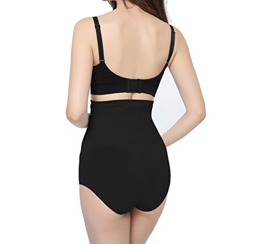 Fibra de Bambú Ropa Tnterior de Maternidad, KUCI® Women's Ultra High Waist Superelastic Pregnant Panties Briefs Black+Nude/2Pack