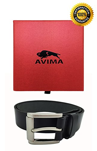 Leather Belt, AVIMA BEST Men's Business Casual Dress Genuine Leather 100% Cowhide Hand Crafted Waist Strap Belt (46, Black Baq)