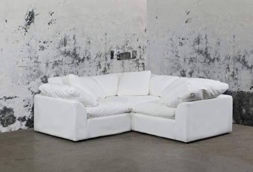 Sunset Trading SU-1458-81-3C Cloud Puff 3 Piece Modular Performance White Sectional Slipcovered Sofa