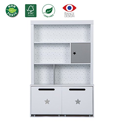 Bookcase Furniture Childrens (LUCKUP Kids Furniture Children Wood 3-Tier Tall sturdy and adorable Shelf Bookcase with Two Removable Drawer, White …)