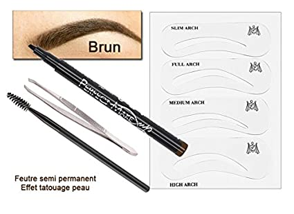 FASHION MAKE-UP - Kit de tinte para cejas semipermanentes (incluye plantillas),