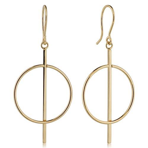 (14k Yellow Gold Circle And Bar Drop Earrings,)