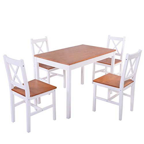 Dining Set Pine Wood 1Table and 4 Chairs Kitchen Furniture (Expandable Round Dining Table For Sale)