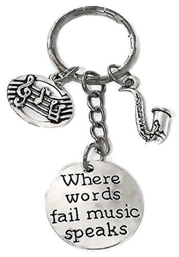Saxophone Keychain, Music Keychain, Musci Note Keychain, Music Key Ring, Saxophone Charm Key Ring