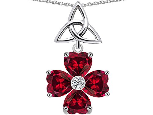 Star K Lucky Shamrock Celtic Knot Made with Heart 6mm Created Ruby Pendant Necklace Sterling Silver ()