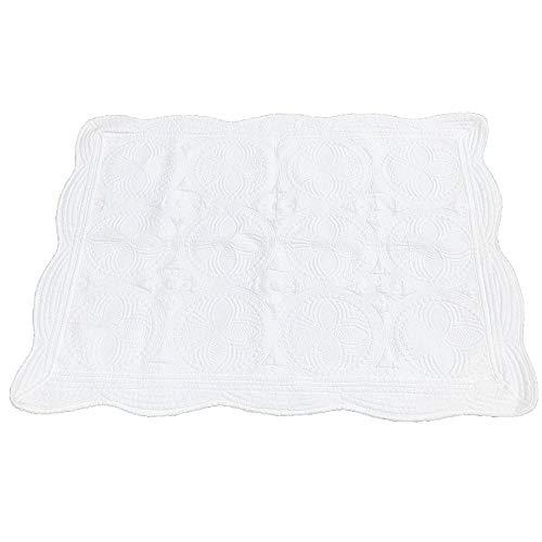 MONOBLANKS Cotton Baby Quilt Personlized Monogram Lightweight Embossed Scalloped Throw Blanket Four Seasons (White) from MONOBLANKS