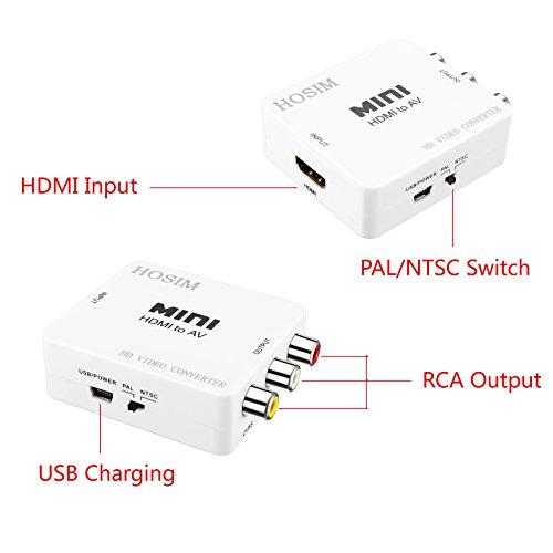 hosim hdmi to av composite converter  rca  adapter for tv
