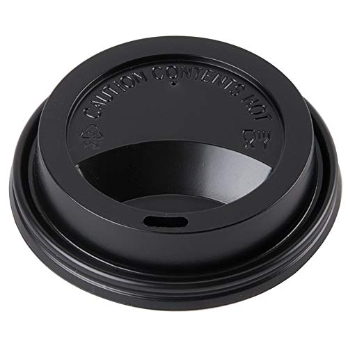 4 oz Coffee Cup Lids - Black Plastic Disposable Drinking Lids - Hot Cup Factory - 25 Count
