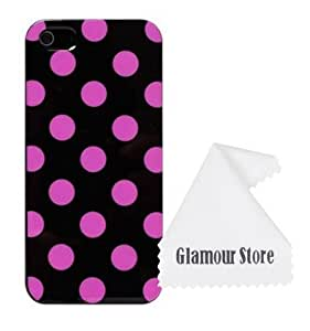 iPhone 6 Plus Case,Polka Dot TPU Rubber Skin Case Cover For New Apple iPhone 6 Plus 5.5 inch With A Free Cleaning Cloth As a Gift (Black +Purple Polka Dot) wangjiang maoyi