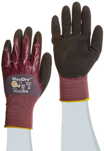 ATG 56-425/XL MaxiDry Ultra Lightweight Nitrile Gloves with 3/4 Dipped Coating, Purple/Black, X-Large, 1-Dozen -  Protective Industrial Products