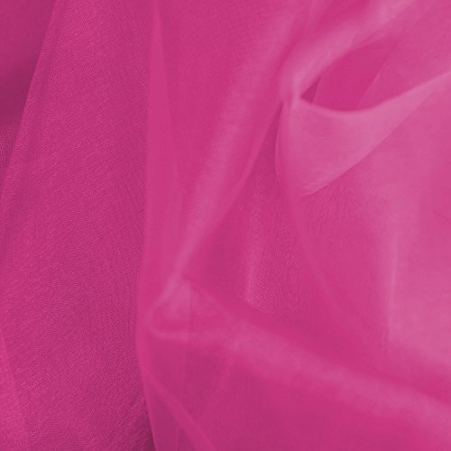 59 Wide Crystal Organza Voile Dress Dance Craft Fabric Material, per metre - Hot Pink by Discover Direct