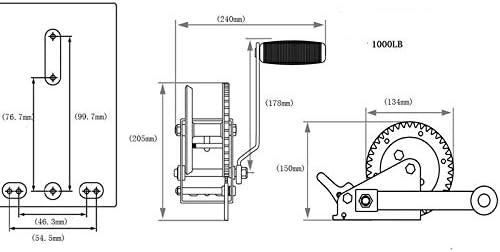 Treuil câble 1000lbs 450 kg 4 mm x 9 m