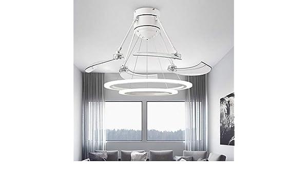 RS Lighting Creative - Ventilador de techo con 2 círculos para salón, dormitorio, moderno, retráctil, con luz LED invisible: Amazon.es: Bricolaje y herramientas