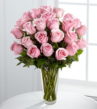 Valentines Day Flowers - Pink Rose Bouquet by FTD - 24 Flowers