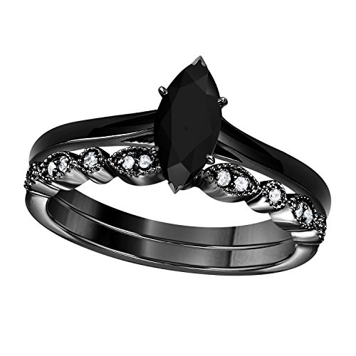 (Gems and Jewels 1.00 Ct Marquise Shape & Round Cut Black CZ Diamond & White CZ Diamond 14k Black Gold Plated Art Deco Vintage Design Wedding Bridal Set Engagement Ring)