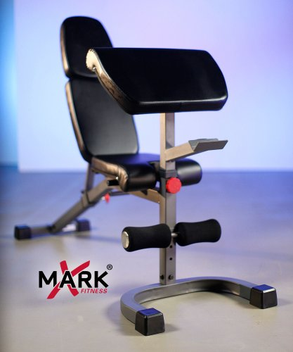XMark FID Flat Incline Decline Weight Bench has 8 Back Pad Adjustments from Decline to Full Millitary Press Position and three Preacher Curl Pad Adjustments, XM 4417 (Available in Gray or White)