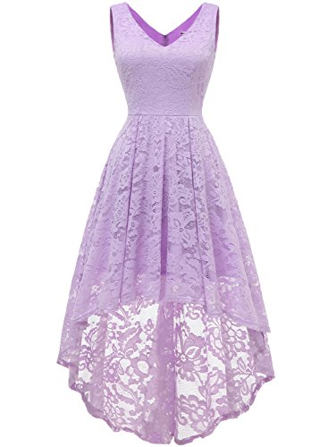 MUADRESS 6666 Women's Sleeveless Hi-Lo Lace Formal Dress Cocktail Party Dress V Neck Lavender XX-Large -