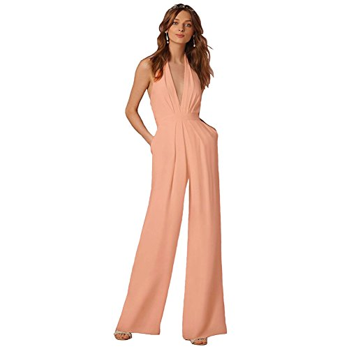 Lielisks Sexy Jumpsuits Formal Sleeveless V-Neck Halter Wide Leg Long Pants Pink S (Pink Jumpsuit)