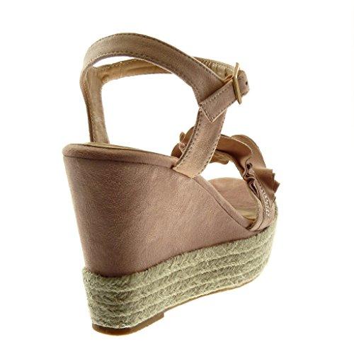 Cuerda Plataforma 11 Cm Con Zapatillas Volante Mujer Angkorly Rosa Moda Sandalias Strass Alpargatas wBvqzC