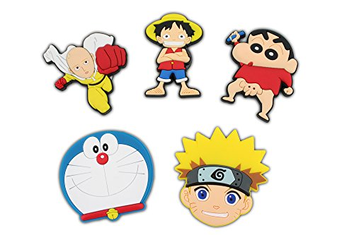 Finex - Set of 5 LARGE 3 inches - Japanese Manga Cartoon Characters Refrigerator Magnets Fridge Magnet Set for (Naruto Cartoon Character)