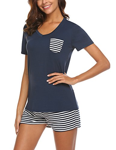 Hotouch Women's Cute Stripes Print Tee and Short Pajama Set Navy Blue XL (Best Women's Pajama Sets)