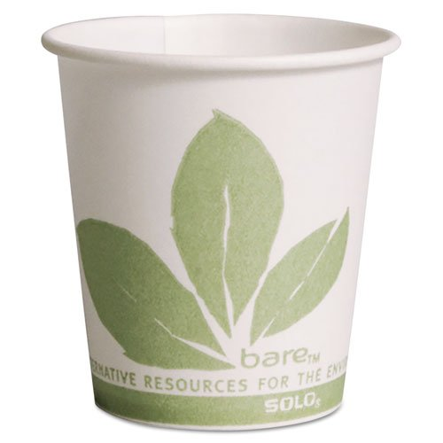 Bare Eco-Forward Paper Treated Water Cups, 3oz, Cold, 100/sleeve, 50 Sleeves/ct