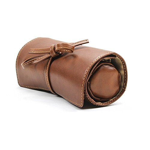 PERSONALIZED NAME INITIALS CUSTOM ENGRAVING Tony Perotti Womens Italian Cow Leather Premium Combination Jewelry Roll with Tie Closure in Cognac