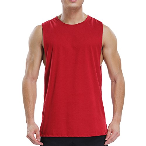Ouging Cut Off Mens Tank Top Muscle Sleeveless T Shirt for Gym Bodybuilding Workout Athletic Training Activity Sports(M, Red)