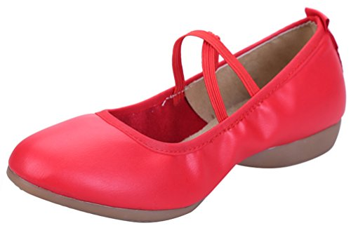 Abby 885-3 Womens Charming Snug Closed Toe Mary Jane Breathable Flat Heel Modern Square Dance Sneakers Red(elastic) HsGd85