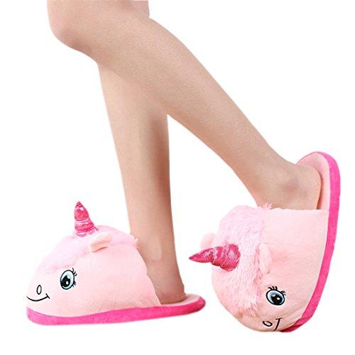 DarkCom Unisex Lindo Unicornio Zapatillas Slip On Suave Adulto De La Felpa De La Casa De Zapatos 1 Par Rosa