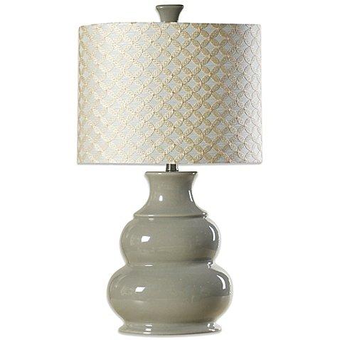 Coventry Juliette Table Lamp in Cool Grey   3-Way Switch, 100-Watt Maximum Bulb - 26in Pattern Diamond