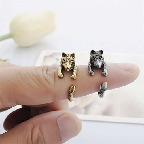 Kingbell Women's Fashion Style Animal Series Wolf Open Ring (Antique Silver, Gold) by Kingbell (Image #2)