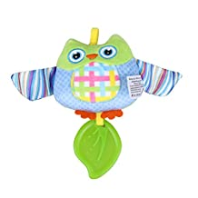 Music Box Bed Bells Toy, Newborn Infant Cartoon Handbells Baby Teether Bells Toys(Without Battery) (Owl)