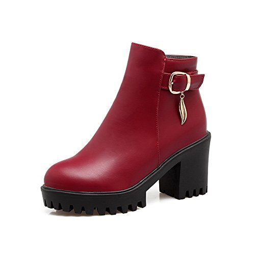 AgooLar Damen Reißverschluss Hoher Absatz Kurz Velours Rein Rund Zehe Stiefel, Rot, 39