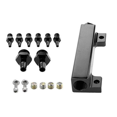 Vacuum Valve Valve Block (Dolity Billet Aluminum Turbo Wastegate Boost Vacuum Intake Manifold 6-Port 1/8 NPT - Black)