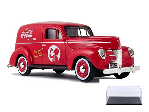 Diecast Car & Display Case Package - 1940 Ford Sedan Delivery Van, Coca-Cola - Motorcity Classics 424194 - 1/24 Scale Diecast Model Toy Car w/Display Case