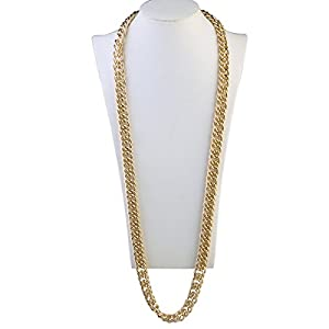 Hip Hop Necklace Rapper Necklace 37″ Gothic Hip Hop Chunky Chain for Men Women Jewelry Decoration Gold