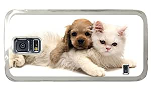 Hipster Samsung Galaxy S5 Case poetic cover Cute Cat Dog PC Transparent for Samsung S5