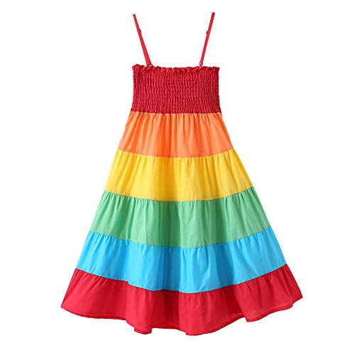 Girls Sun Dress (Baby Girls Rainbow Dress Boho Toddler Pageant Princess Sleeveless Halter Beach)