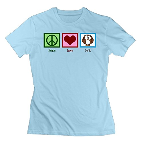 Price comparison product image AKKK47 Women's Comfortable Peace Love Owls T Shirt SkyBlue L