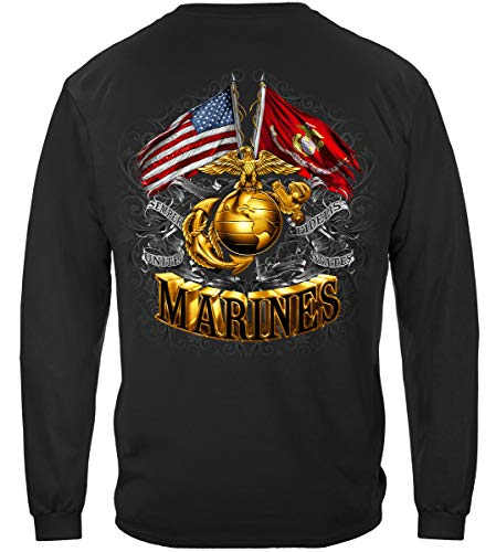 US Marine Corps Long Sleeve T-Shirts, 100% Cotton Casual Mens Shirts, Show Your Pride with Our Double Flag Gold Globe Marine Corps Foil Stamp Long Sleeve Shirts for Men or Women (Medium)