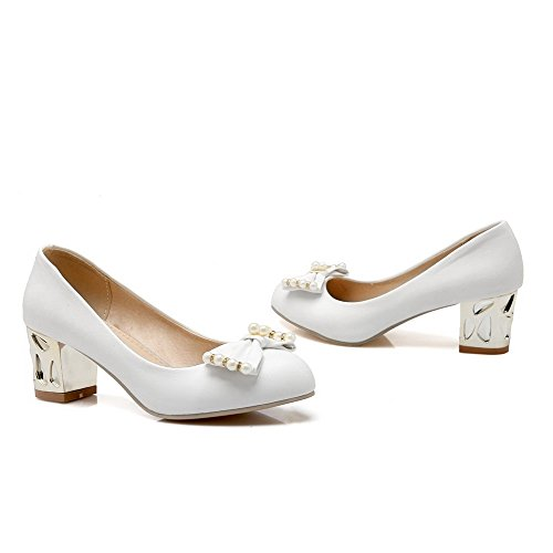 Odomolor Women's Solid PU Kitten-Heels Round-Toe Pull-On Pumps-Shoes, White, 39