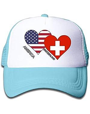 America Switzerland Flag Heart On Kids Trucker Hat, Youth Toddler Mesh Hats Baseball Cap