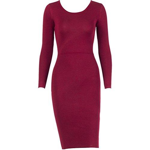 WanYang Damen Strick Bodycon Jumper Kleid Winter Bodycon Party Kleider Midi  Maxi Top Rot jSbANCHgld 68a87160d4