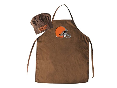 NFL Cleveland Browns Logo Apron & Chef Hat, One Size, Brown, Brown, One Size