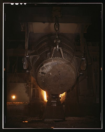 - Photography Poster - Ladle of molten iron is poured into an open hearth furnace for conversion into steel Allegheny Ludlum Steele Corp. Brackenridge Pa. Note the safety latch on the crane hook - 24