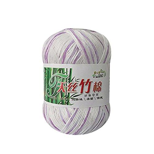 Chartsea Wool Yarn, 100% Bamboo Cotton Warm Soft Natural Knitting Crochet Knitwear Wool Yarn 50g for Scarves,Sweater,Blanket (L)