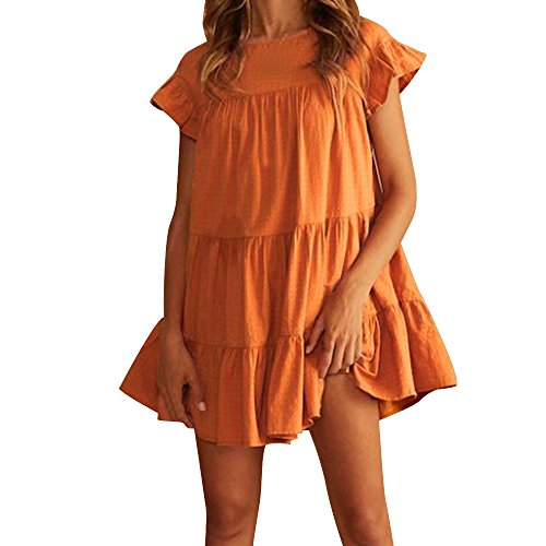 - Sunmoot Women Casual Ruffled Dress Sexy Butterfly Short Sleeve Babydoll Dress Evening Party A-Line Mini Dress Orange